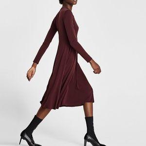 ZARA 70's INSPIRED WINE RUST DRESS BOW AT NECK